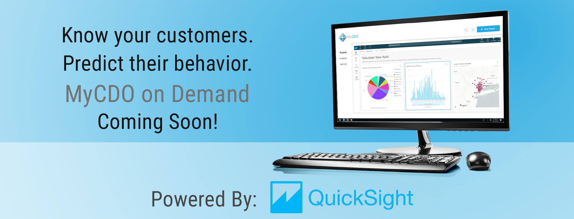 """a monitor and keyboard with a text in the bottom of """"powered by quicksight"""""""