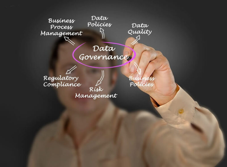 a man in yellow polo writing a data governance and components